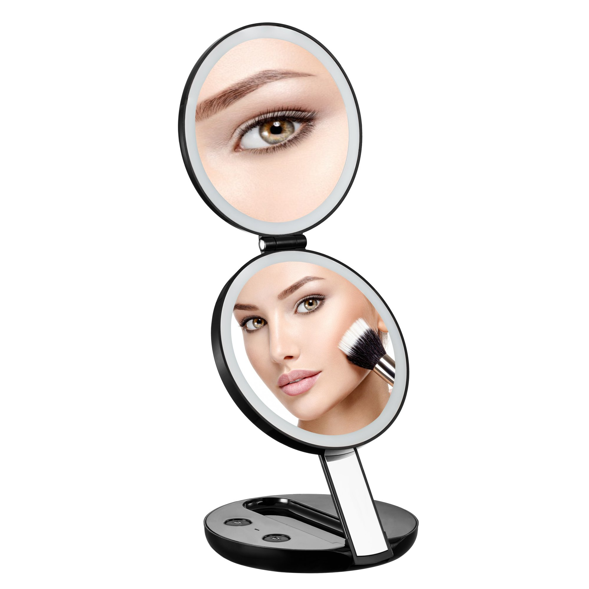 B&F Travel Makeup Mirror,Round 7X and 1X Magnifying Lighted Vanity Mirror,Dual Power Supply, Folding Handheld Compact Mirror