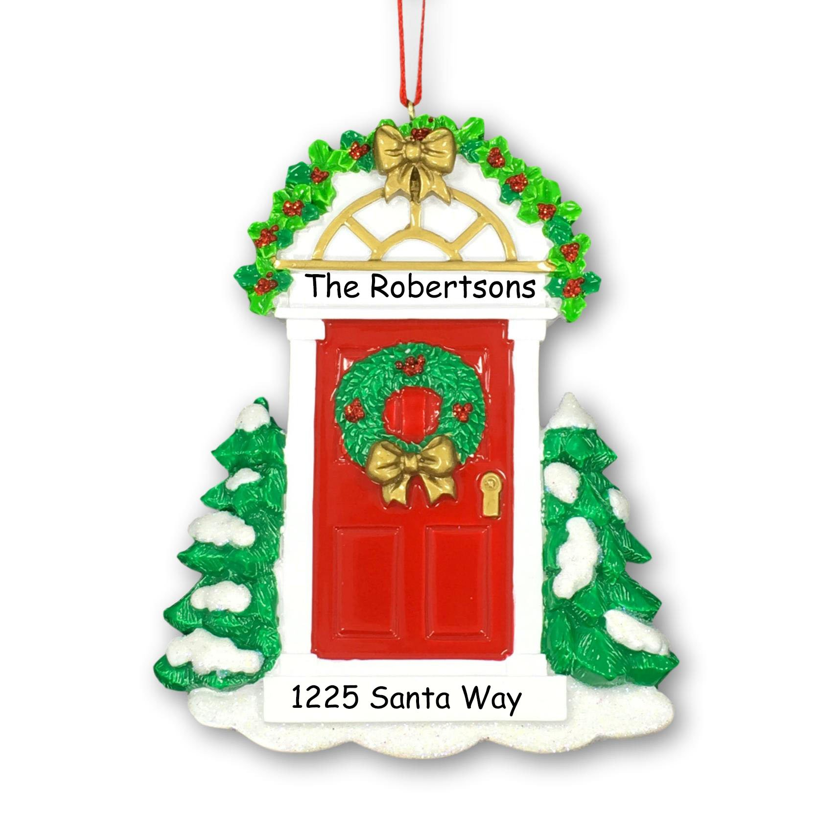 Personalized Christmas New Home First Home Red Door Wreath Holly Christmas Ornament with Names and Address