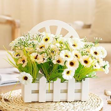Dsaaa Kunstliche Blume Ganseblumchen Aus Holz Zaun Montiert Nach
