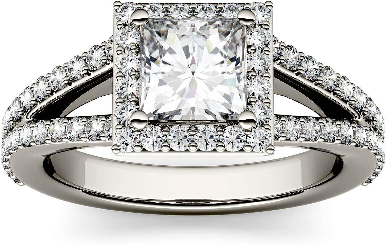 Charles & Colvard Forever One anillo de compromiso - Oro blanco 14K - Moissanita de 5.5 mm de talla cuadrada, 1.68 ct. DEW