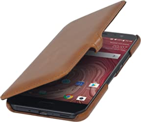 StilGut Book Type Case con Clip, custodia a libro booklet in vera pelle per HTC U11, Cognac