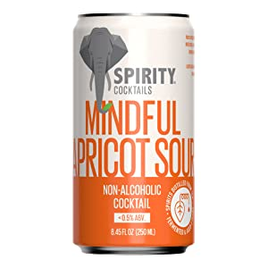 Spirity Cocktails - Apricot Sour, Non Alcoholic Cocktail, Spirits Distilled from Tea, 8.45 fl oz Cans (4-Pack)