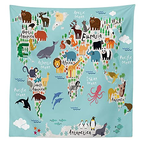 Amazon kids tablecloth educational world map africa camel kids tablecloth educational world map africa camel america lama allegator ocean australia koala classroom home decorations gumiabroncs Choice Image