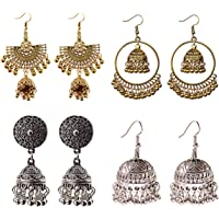 DOUVEI 4 Pairs Oxidized Gold Silver Indian Jhumka Jhumki Earrings Jewelry Stud Earrings Combo Women Girls