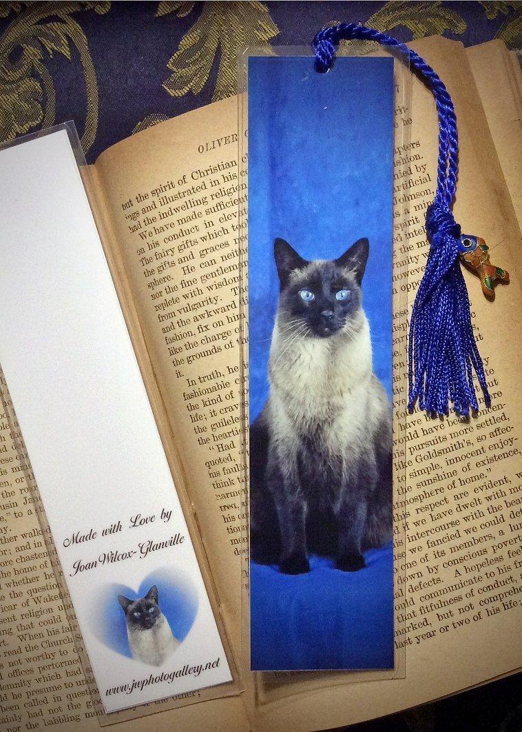 Yoshi the Siamese Kitty Cat Kitten Photo Bookmark w/ Cloisonne Fish Beads Fine Art Photography Photo Laminated Handmade Bookmark
