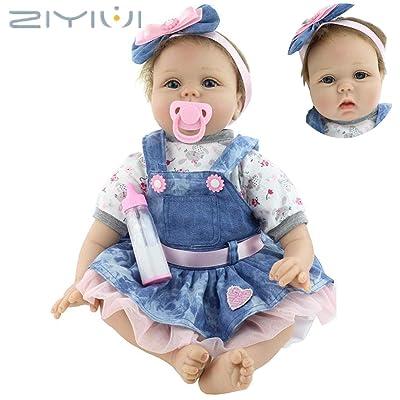 ZIYIUI 55cm Muñeca Reborn bebé Niña Vinilo Silicona Realista Niñita Muñecos Reborn Babys Dolls 22 Pulgadas Hecha a Mano Niños Juguete: Juguetes y juegos