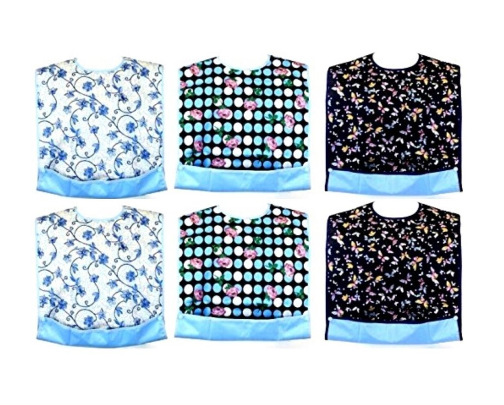 JustCare Adult Bib (6 Pack) Clothing Protector Waterproof Backing & Optional Crumb Catcher