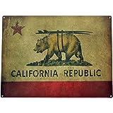 California Republic Surf Bear State Flag Vintage Metal Sign
