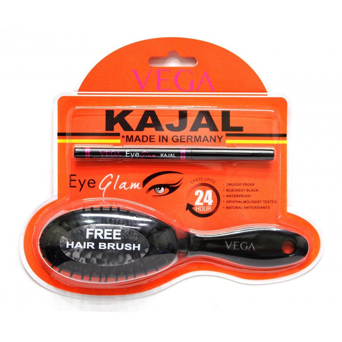 Vega Eye Glam Kajal, Black, 0.35g with Free Brush product image