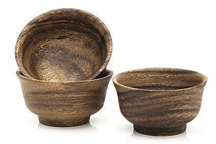 Japonesa – Cuenco para aperitivos y salsas de madera de acacia – Comercio Justo – Juego