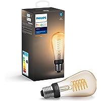 Philips Hue Witte gloeidraad Enkele slimme LED ST64-lamp [E27 Edison-schroef] met Bluetooth, vlamwit, werkt met Alexa…