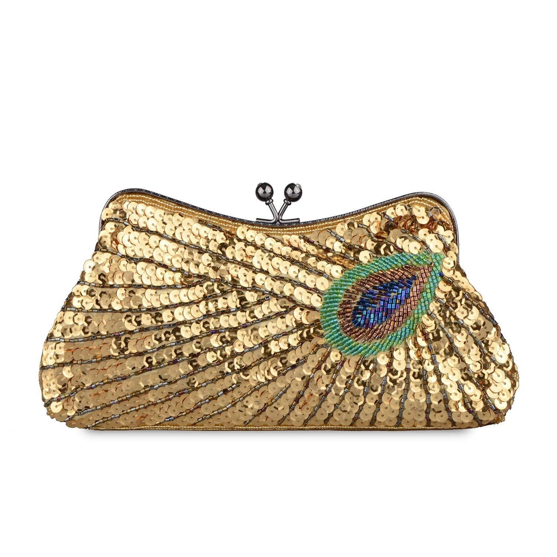 Lentejuelas de la Mujer Cuentas Bolsa de Diamantes de imitación Pavo Real Bordado Embrague Bolso de Noche-A 24x3x11cm(9x1x4inch): Amazon.es: Equipaje
