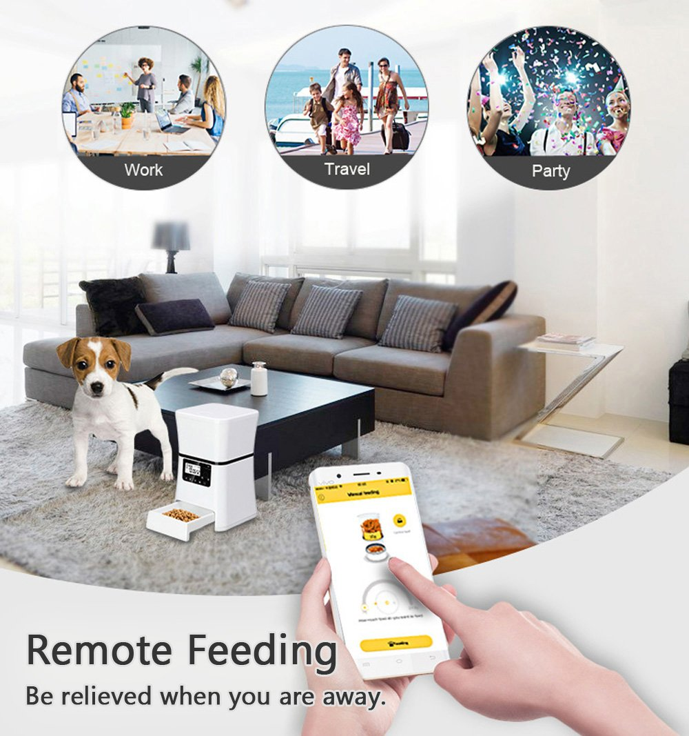 Automatic Pet Feeder, Smart Programmable Food Dispenser for Dog & Cat. For Dry & Wet Food. With IOS & Android APP, 6 lb Capacity by ARTDOU (Image #4)