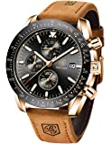 BENYAR Mens Watches Quartz Chronograph Business Luxury Brand Waterproof Wristwatches Fashion Brown Leather Watches for…