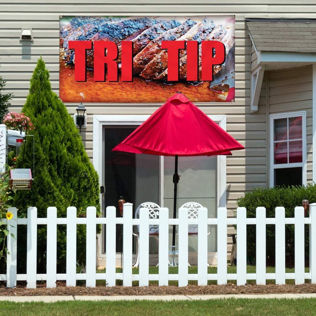 Set of 3 Vinyl Banner Sign Tri Tip Restaurant Cafe Bar Tri Tip Marketing Advertising Brown 4 Grommets 24inx60in Multiple Sizes Available