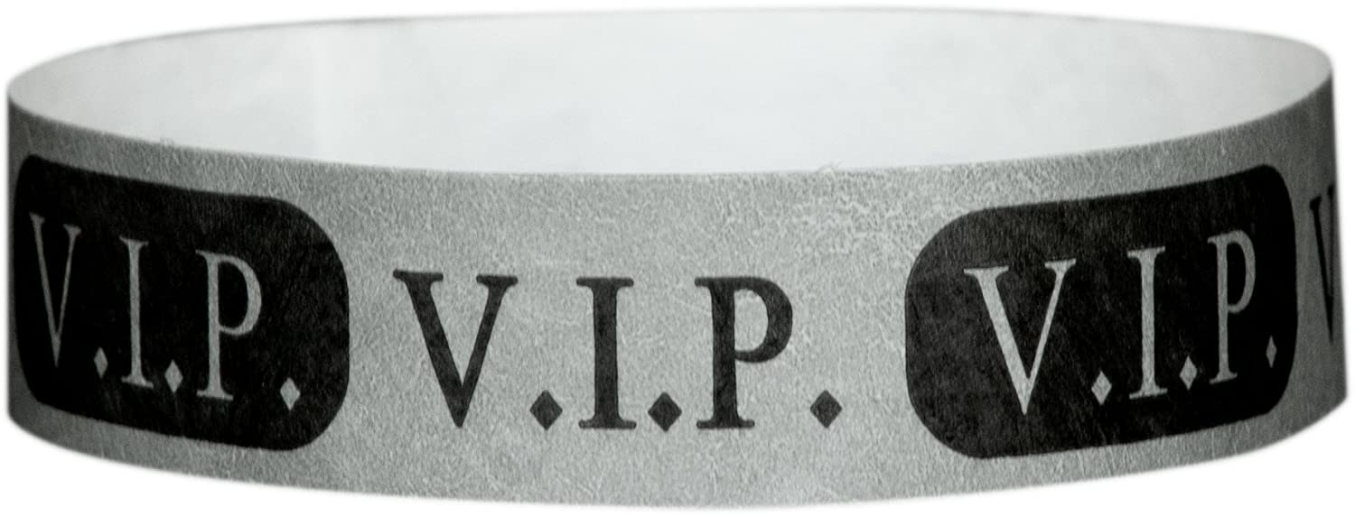 Wristband Giant 3/4 Tyvek Wristbands VIP Pattern box 500 For Events (Silver)