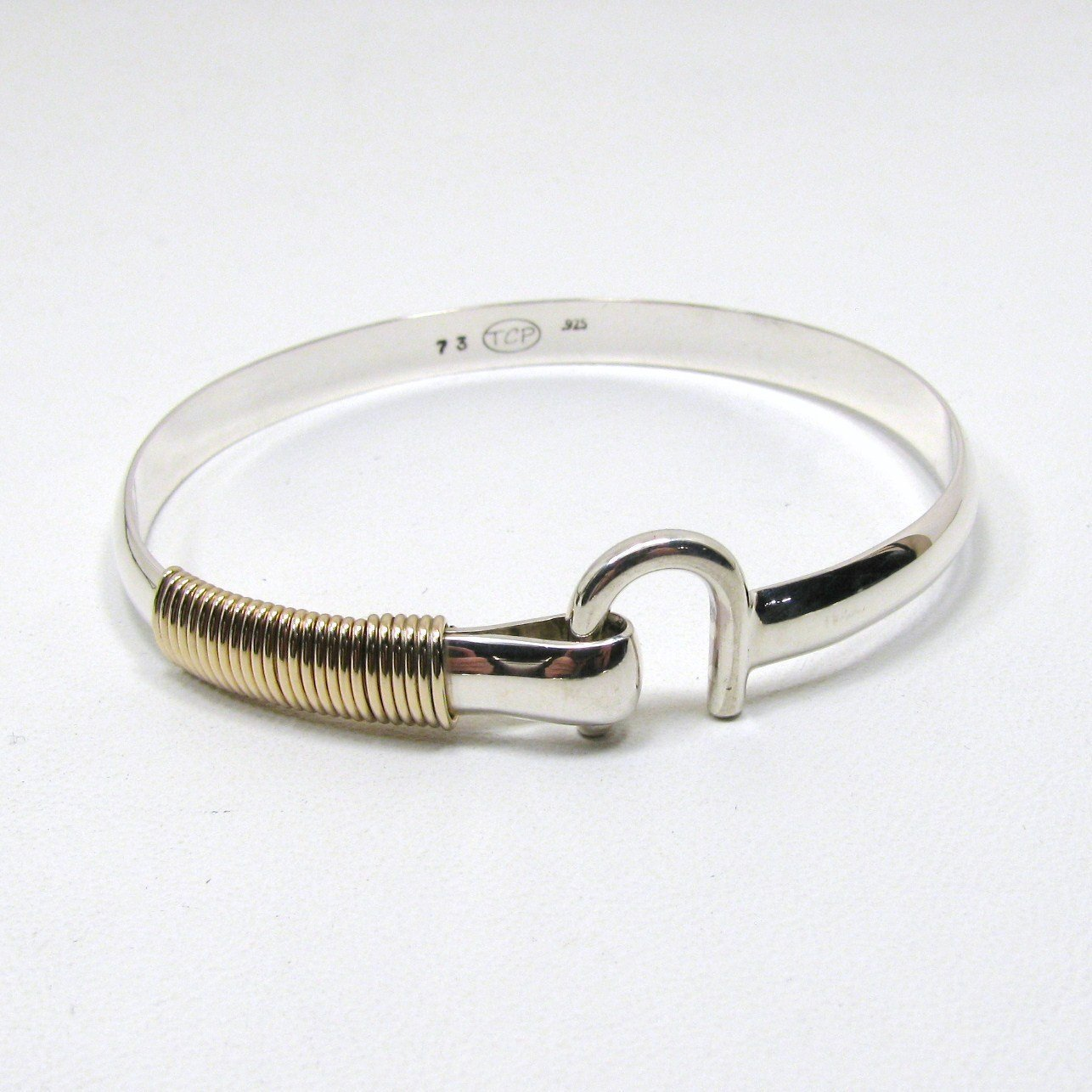 St. Croix Hook Bracelet, Sterling Silver and 14K Gold Fill Hook Braclet 6 mm Wide, Island Love Bracelet