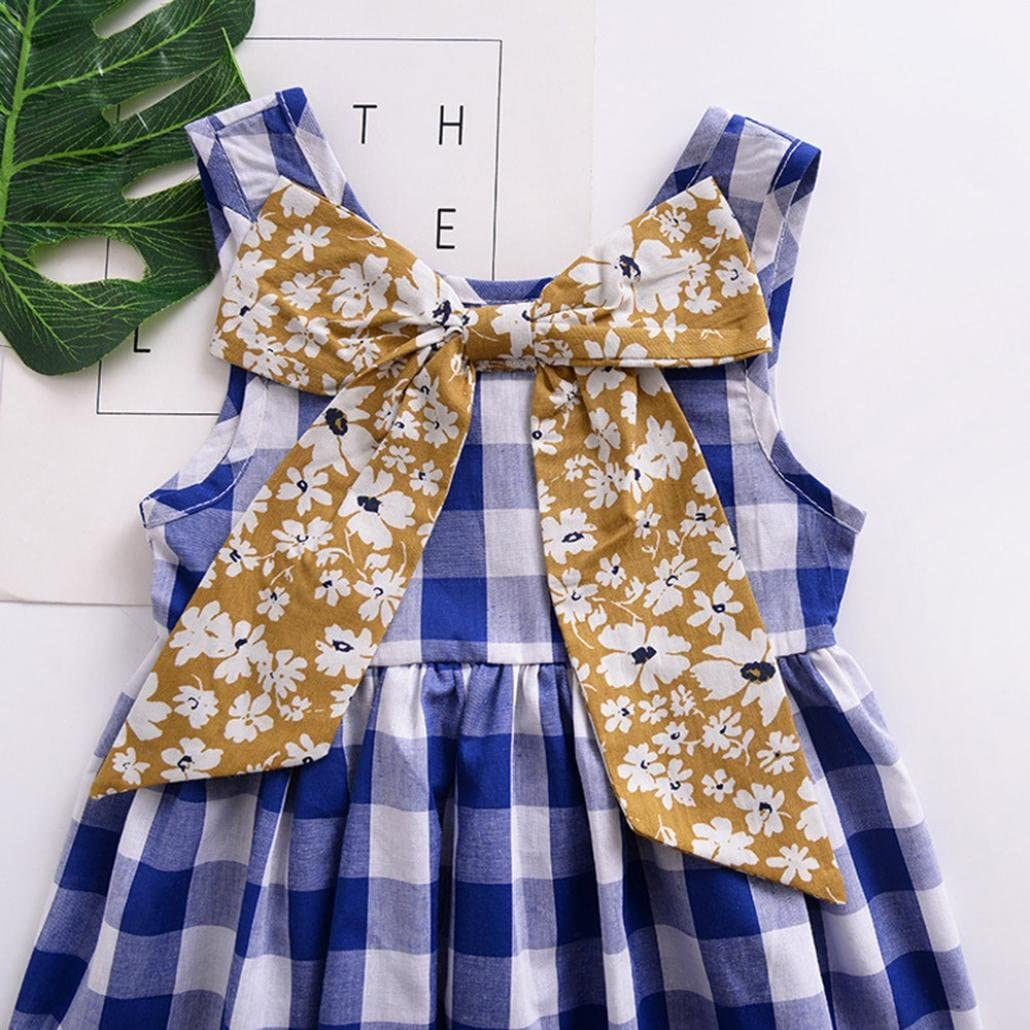 Dinlong Toddler Infant Baby Girls Clothes Summer Plaid Floral Print Bow Dress
