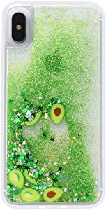 LUVI for iPhone 7 Plus/iPhone 8 Plus Liquid Case Funny Shiny Stars Sparkle Green Quicksands Shell Flowing Floating Ultra Thin Clear Bumper Fruit Avocado Glitter Cover Fitted for iPhone 7 Plus