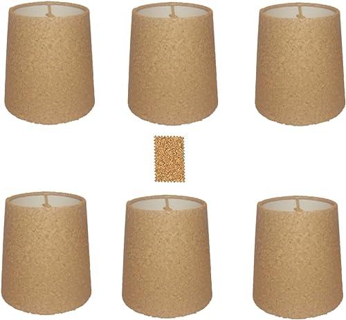 Upgradelights Natural Cork Chandelier Lamp Shade, Set of Six Shades, 5 Inch Retro Drum, Clips onto Bulb. Model Ui5inchcork