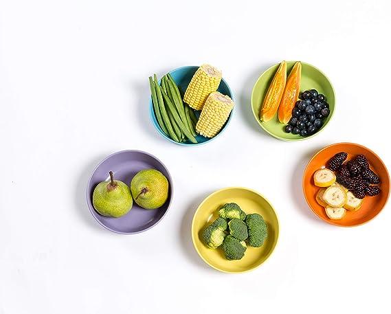 Isoboo Lot de 5 assiettes en bambou biod/égradables non toxiques et respectueux de lenvironnement Couleurs vives