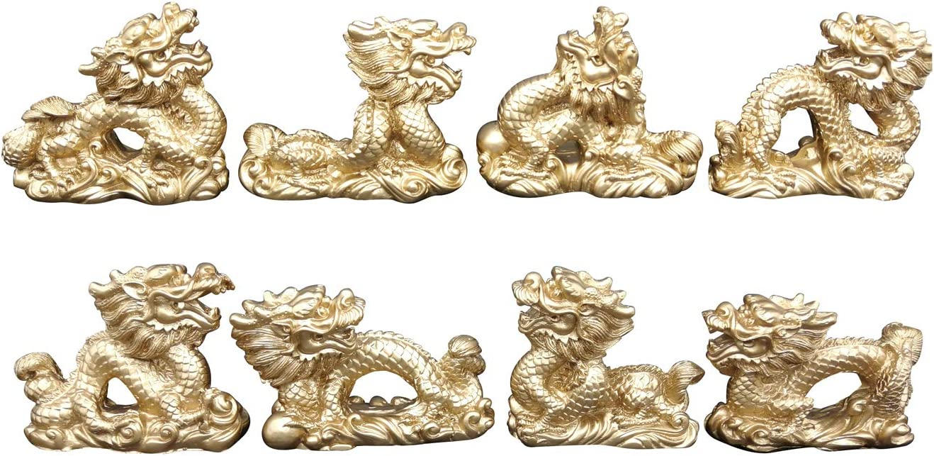 2 inch Dragon Statue Feng Shui Handmade Magical Resin Sculpture Golden Wealth Lucky Success Home Decor Statue Birthday Gift Office Collection Set of 8