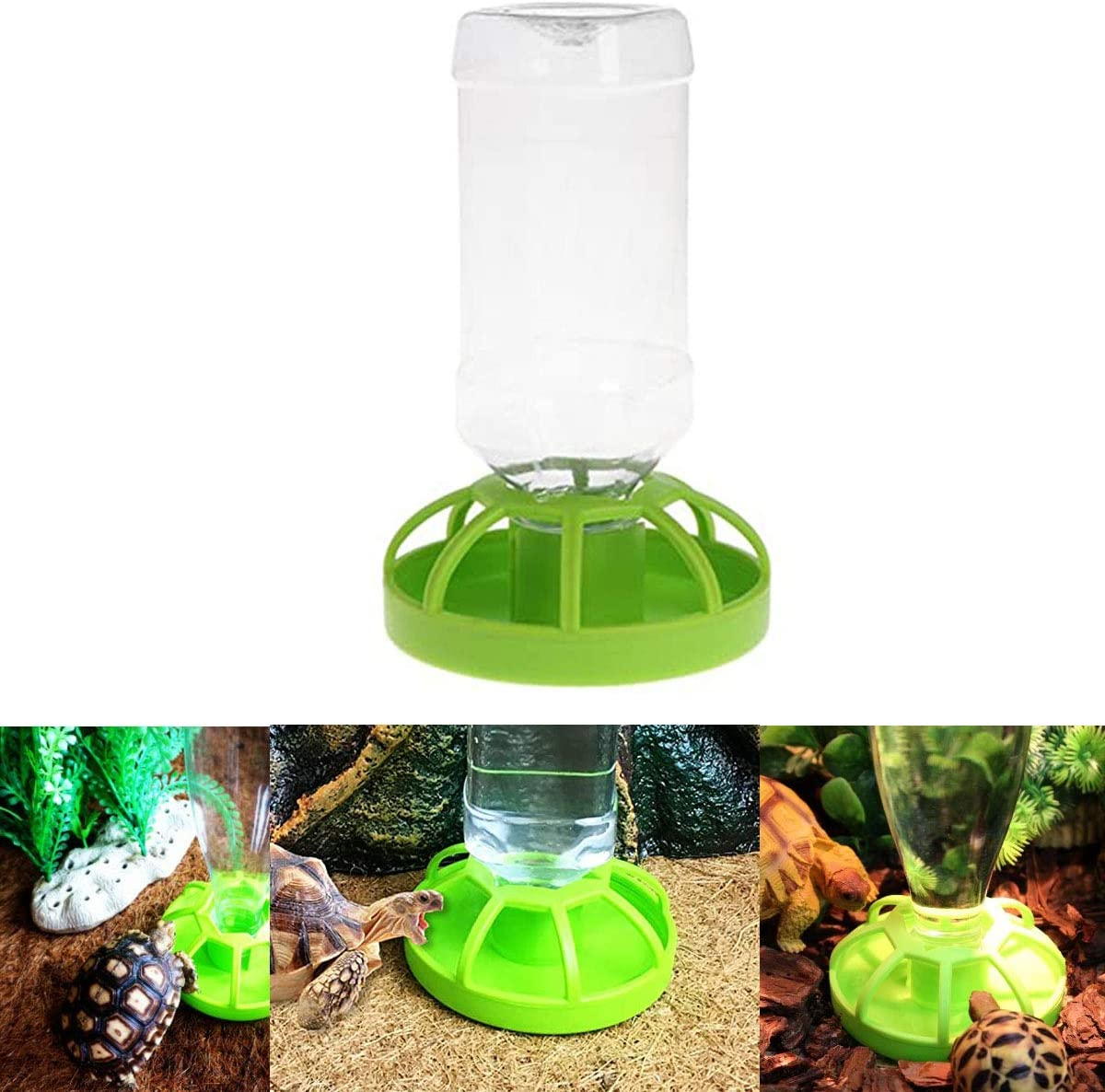Ailindany Reptile Food Dish Automatic Water Drinker Dispenser Feeding Bowl Lizard Tortoise Feeder Round Dish Terrarium Dish Drink Bottle for Turtle Tortoise Lizard