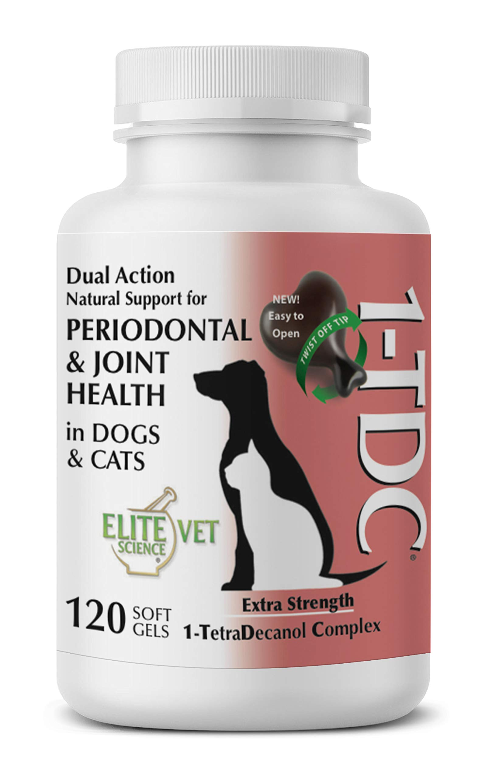 1TDC -Dual Action Natural Support - 120 Twist Off Soft Gels - Delivers 4 Major Health Benefits for Dogs & Cats - Supports Oral Health, Hip & Joint Health, Muscle & Stamina Recovery, Skin & Coat Health by 1-TDC
