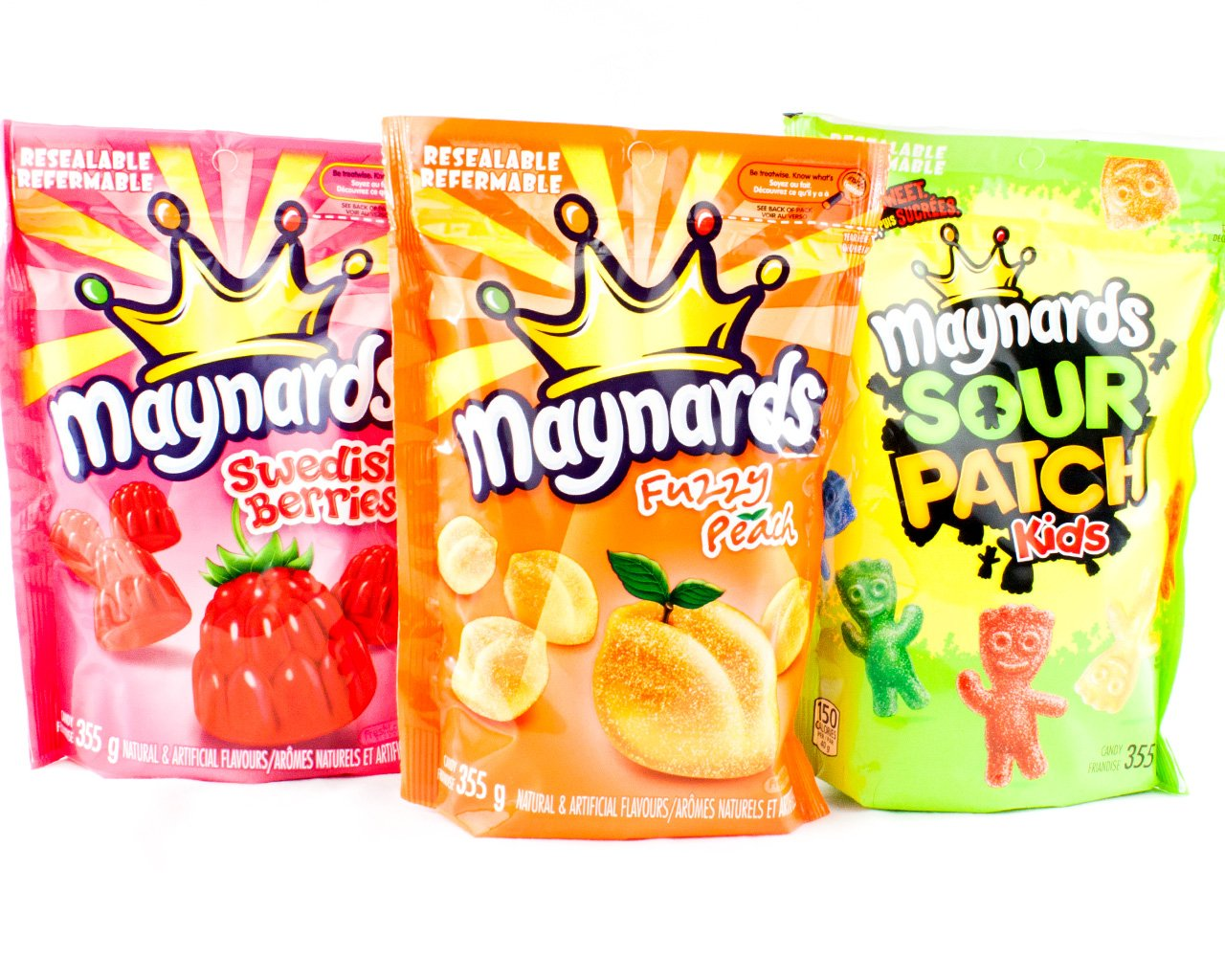 Maynards Bundle of Three Bags Candy Swedish Berries, Fuzzy Peach, Sour Patch Kids (Imported from Canada) by Mondelez International