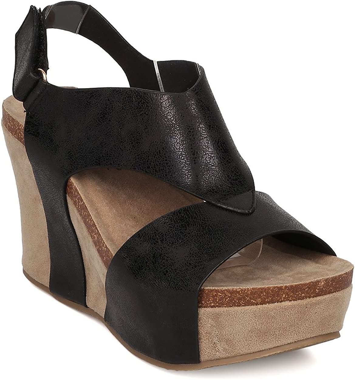 Nature Breeze Women Leatherette Platform Wedge Sandal - Slingback Sandal - Cutout Platform Wedge