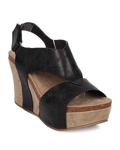 76032af06fd Nature Breeze Women Leatherette Platform Wedge Sandal - Slingback Sandal -  Cutout Platform Wedge