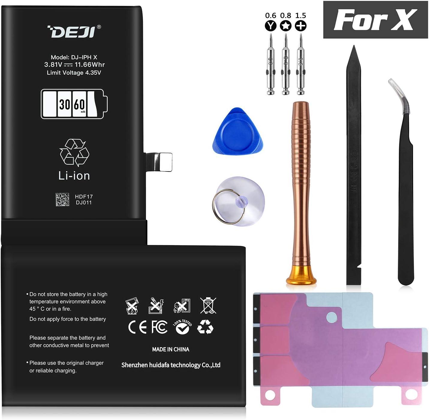 DEJI Battery for iPhone X, 3060mAh High Capacity Replacement Battery for iPhone X A1865, A1901, A1902, with Professional Repair Tool Kit and Instructions