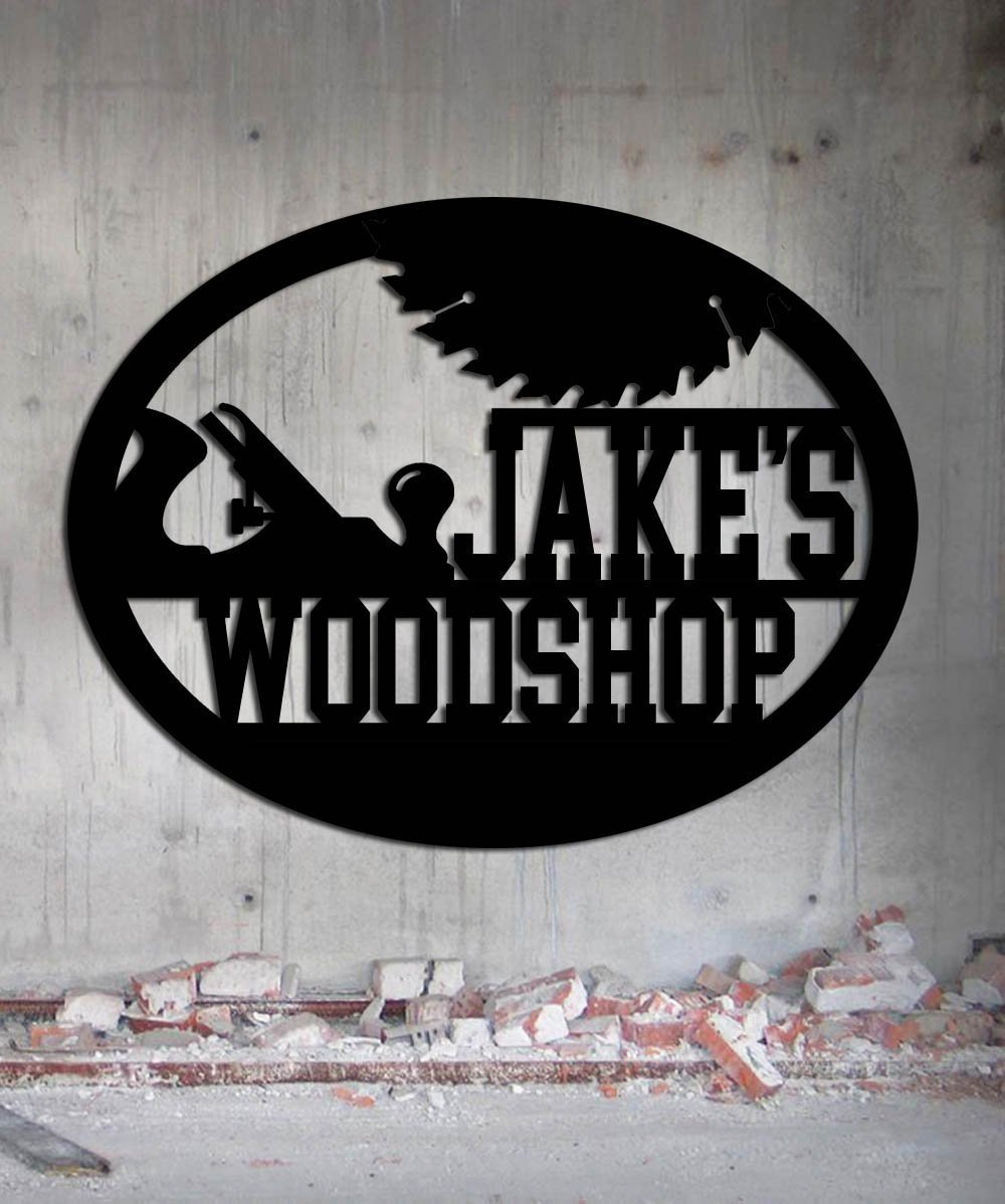 Woodshop Woodworker – Custom Metal Shop Sign – Metal Wall Art Great Gift Made In USA Carpentry Wood Worker Steel Sign