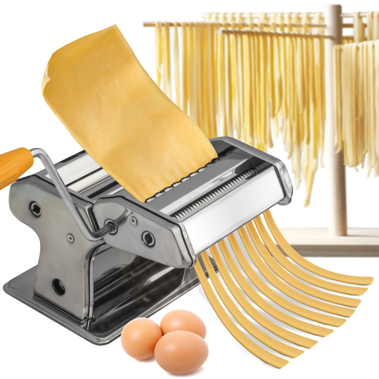 Stainless Steel Fresh Pasta Maker Roller Machine for Spaghetti Noodle Fettuccine by HouseNow