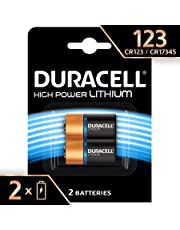 Duracell High Power Lithium 123 Battery 3 V, (CR123/CR123A/CR17345) Designed for Use in Arlo Cameras, Sensors, Keyless Locks, Photo Flash and Flashlights, Pack of 2