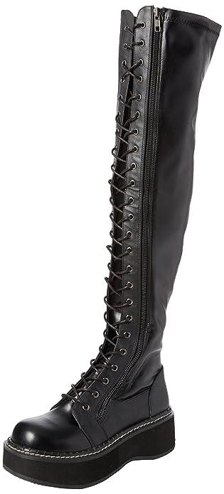 521350e5665 Demonia Women s EMILY-375 Over The Over The Knee Boot Black str Vegan  Leather 6