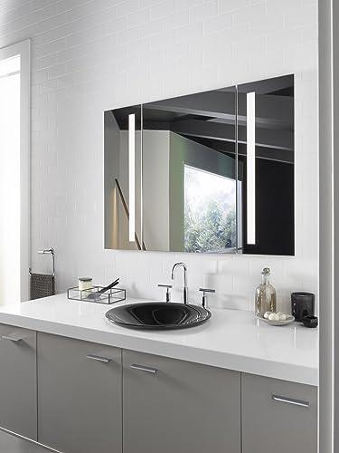 KOHLER K-99011-TL-NA Verdera 40 inch x 30 inch LED Lighted Bathroom Medicine Cabinet, Slow Close Hinge, Internal Magnifying Mirror Aluminum Recess or Surface Mount 3 Doors