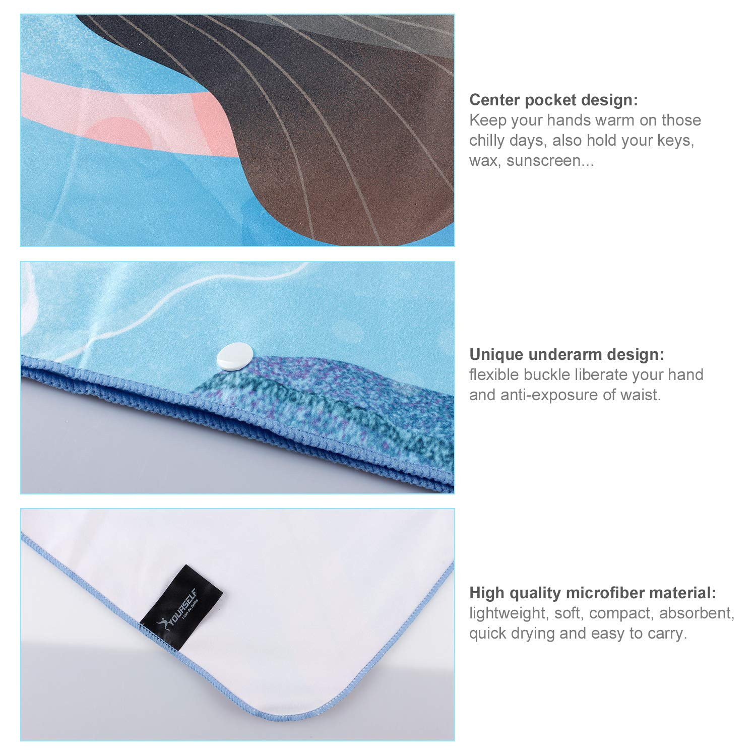 70 x 35-Lightweight Absorbent Fast Dry Oversized Towels Blanket Mat-Perfect for Women Men Sports Swim Yoga+Travel Bag SYOURSELF Microfiber Travel Beach Bath Towel Surf Poncho-L 60 x 30 or XL