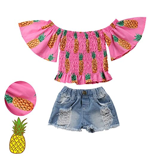 37a3bbce97e84 Toddler Baby Girls Off The Shoulder Pineapple Print Tank Top Shirt+Denim  Shorts Pants Summer
