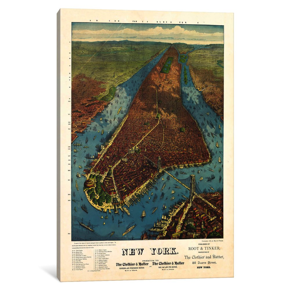 iCanvasART 3 Piece Aerial Map for Root /& Tinker of New York Canvas Print by Print Collection 60 x 40//1.5 Deep