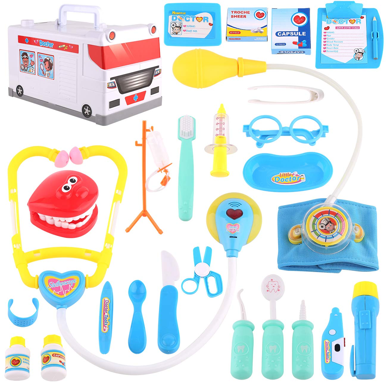 Kids Doctor Kit, Toy Doctor Set for Toddlers,25pcs,Durable Medical Pretend Play Toy Set, Birthday Gift for Toddlers,Boys,Girls, Party and Role Play