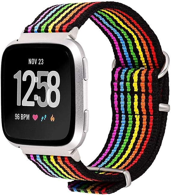 Bandmax - Correa de Repuesto para Fitbit Versa LGBT, Correa de Nailon Transpirable con Hebilla de Metal: Amazon.es: Ropa y accesorios