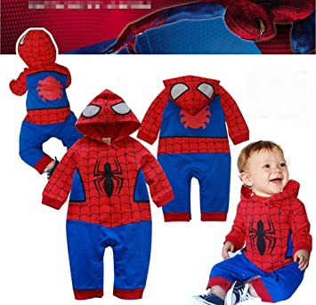 32c6b9666f5bd BABY BOY GIRL SUPERMAN BATMAN SUPERGIRL SPIDERMAN BATGIRL BABY GROW FUNKY  CUTE FANCY DRESS OUTFIT COSTUME ROMPER SUIT GIFT (12-18 MONTHS, SPIDERMAN  ...