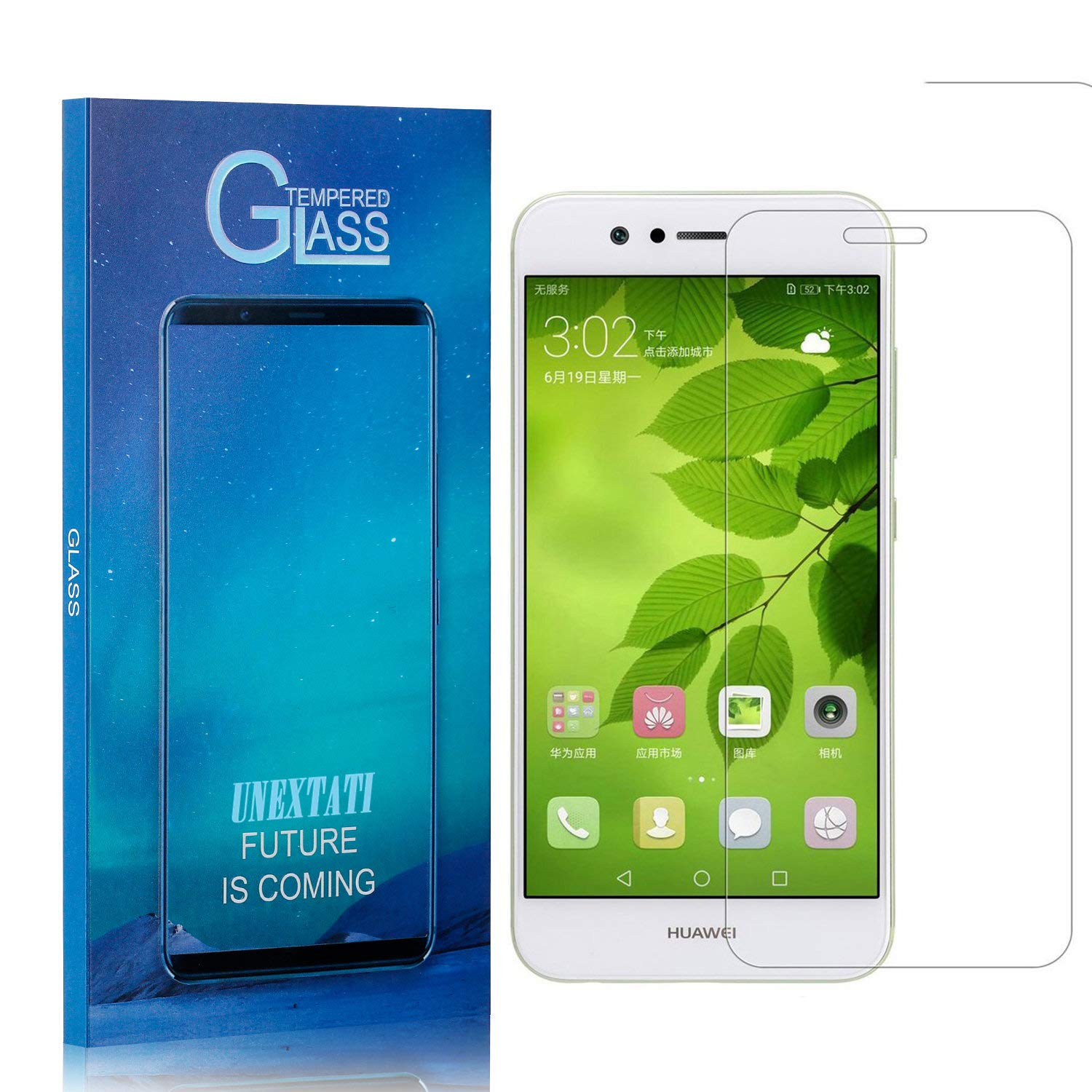4 Pack UNEXTATI Premium Scratch Resistant HD Clear Tempered Glass Film for Huawei Nova 2 Tempered Glass Screen Protector Compatible with Nova 2