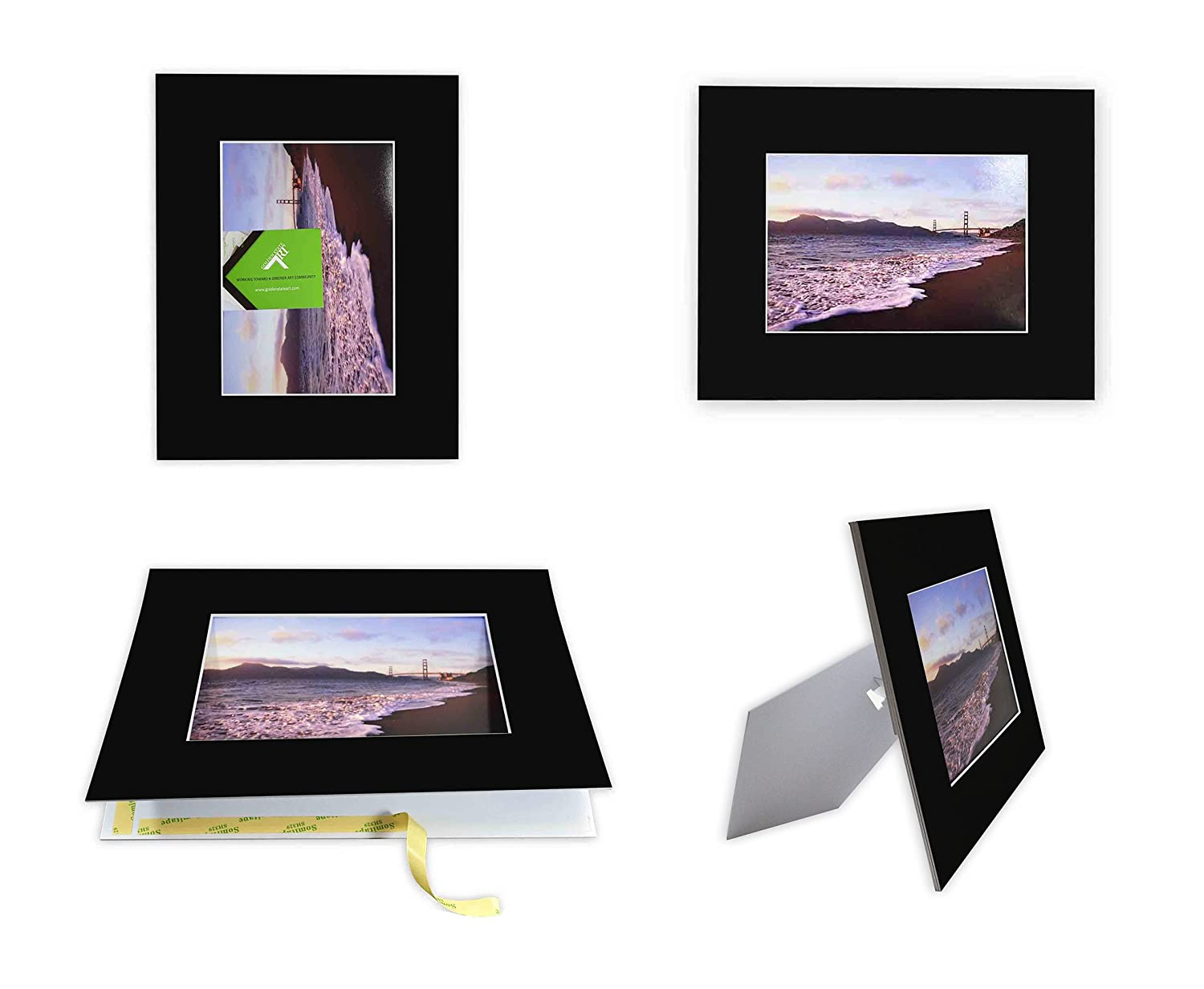 Golden State Art Pack of 10 Black 8x10 Self-assemble Photo Mat for 5x7 picture with backing board pre-gummed W/Easel Display Stand, Includes 10 clear bags A142-E-10Kit-810-57