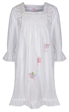 7fad53e85b8 The 1 for U Girls Nightdress 100% Cotton Fairy Nightie Lilly White   Amazon.co.uk  Clothing