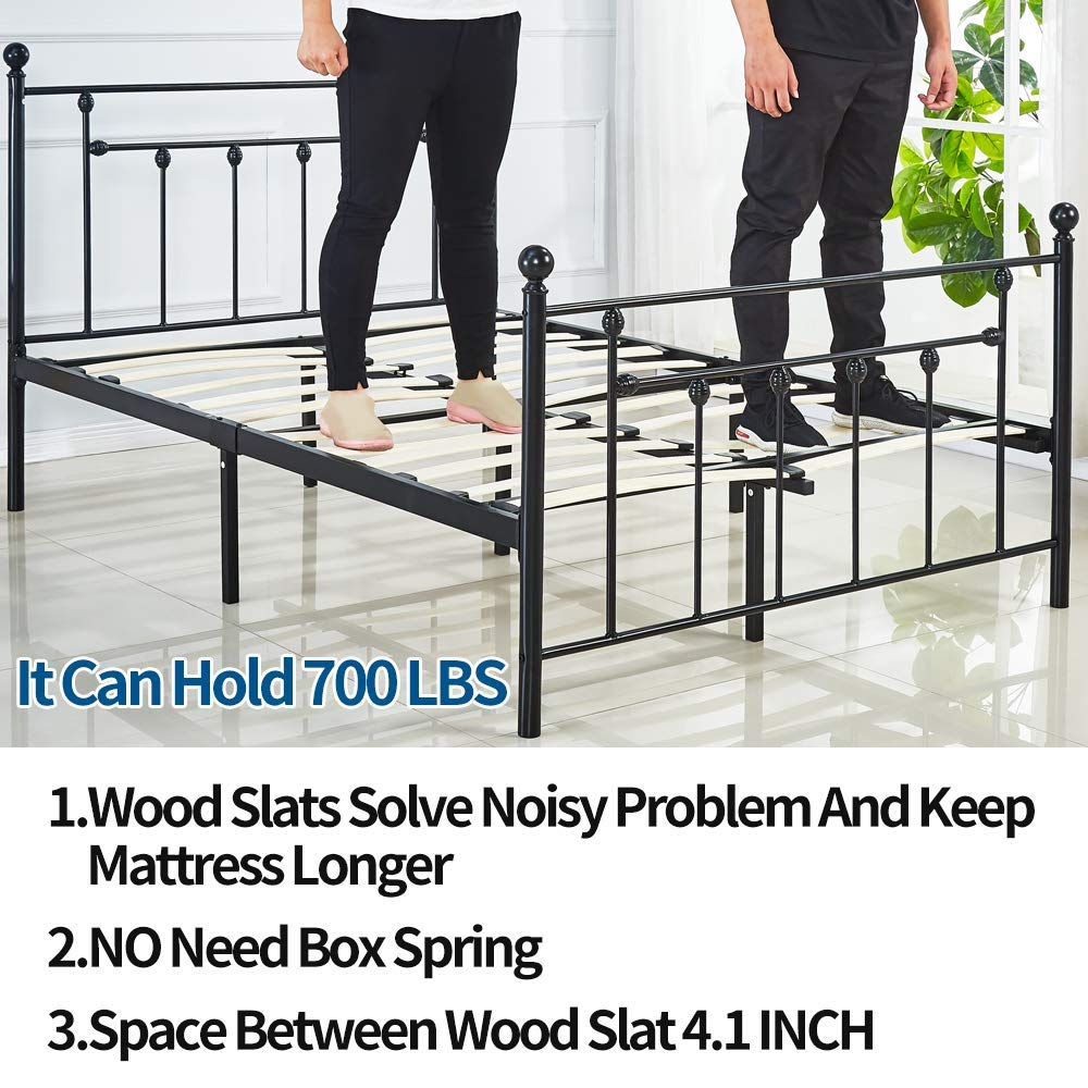 LANKOU Double Size Bed Frame Metal Platform Mattress Foundation//Box Spring Replacement with Headboard Victorian Style .UPS Delivery,Three Years Warranty 4FT6 Double Size 4FT6