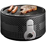 Gourmia GBQ330 Portable Charcoal Electric BBQ Grill - Great for Camping - 90% Smoke Reduction Barbecue - Turbo Fan - Removable Electronics - Green - Bonus Travel Briefcase