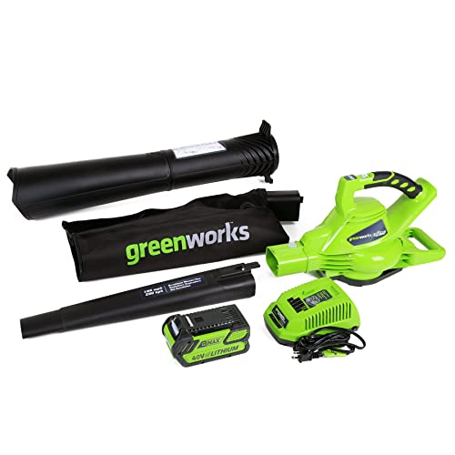 6. GreenWorks 24322 DigiPro G-MAX 40V Cordless 185MPH Blower/Vac with 4ah battery and charger