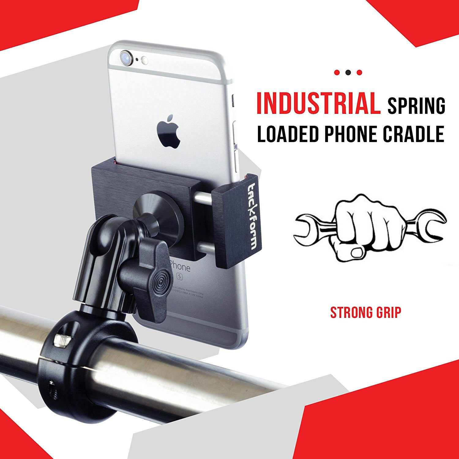 Metal Motorcycle Mount for Phone - by TACKFORM [Enduro Series] - NO SLINGS NEEDED. Rock solid holder for Regular and Plus sized iPhone and Samsung devices. Industrial Spring Grip by Tackform Solutions (Image #3)